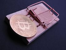 Bitcoin on mouse trap. Bitcoin ready to get trapped in a  mouse trap on black background. Bitcoin investing stays a risky business Royalty Free Stock Images