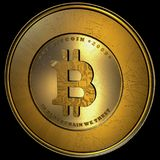 Bitcoin, Realistic Gold Isolated. Big 4K, High Quality Concept of a realistic bitcoin with scratches concept modeled in 3D Isolated in black background Stock Photos