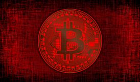 Bitcoin on red crisscross mesh background. Bitcoin currency on red crisscross mesh background stock photography