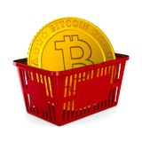 Bitcoin in red shopping basket on white background. Isolated 3d Stock Images