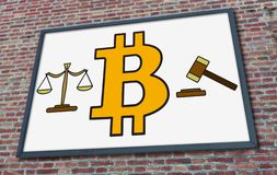 Bitcoin regulation concept on a billboard. Bitcoin regulation concept drawn on a billboard fixed on a brick wall royalty free stock photography