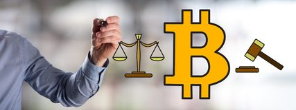 Bitcoin regulation concept drawn by a man. Man drawing a bitcoin regulation concept royalty free stock image