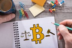 Bitcoin regulation concept on a notepad. Bitcoin regulation concept drawn on a notepad placed on a desk royalty free stock photography