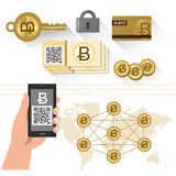 Bitcoin related items - P2P system, secure key Royalty Free Stock Photo