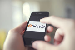 Bitcoin retail usage royalty free stock photo