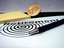 Bitcoin Retirement plan. Buying and saving bitcoins for the days that comes after retirement Stock Image
