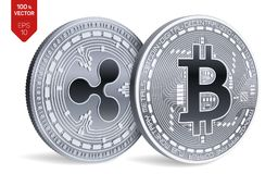 Bitcoin and Ripple. 3D isometric Physical coins. Digital currency. Cryptocurrency. Vector illustration. Bitcoin and Ripple. 3D isometric Physical coins. Digital royalty free illustration