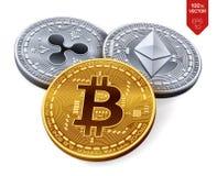 Bitcoin ripple Ethereum moedas 3D físicas isométricas Moeda cripto Moeda de Digitas Moedas de prata e douradas com bitcoin, r Fotos de Stock Royalty Free