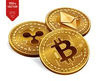 Bitcoin ripple Ethereum moedas 3D físicas isométricas Moeda de Digitas Moeda cripto Moedas douradas com bitcoin, ondinha e e Imagem de Stock Royalty Free