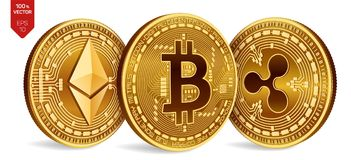 Bitcoin ripple Ethereum moedas 3D físicas isométricas Moeda de Digitas Cryptocurrency Moedas douradas com bitcoin Fotos de Stock