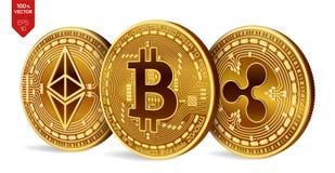 Bitcoin ripple Ethereum moedas 3D físicas isométricas Moeda de Digitas Cryptocurrency Moedas douradas com bitcoin Fotografia de Stock Royalty Free