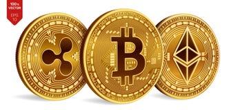 Bitcoin ripple Ethereum moedas 3D físicas isométricas Moeda de Digitas Cryptocurrency Moedas douradas com bitcoin, ondinha e e Foto de Stock