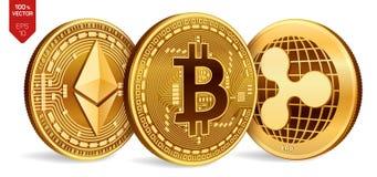 Bitcoin ripple Ethereum moedas 3D físicas isométricas Moeda de Digitas Cryptocurrency Moedas douradas com bitcoin, ondinha e e Fotografia de Stock Royalty Free