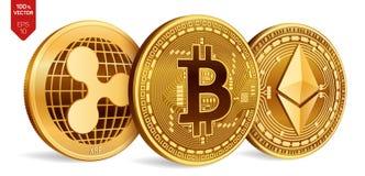 Bitcoin ripple Ethereum moedas 3D físicas isométricas Moeda de Digitas Cryptocurrency Moedas douradas com bitcoin, ondinha e e Foto de Stock Royalty Free