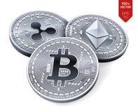 Bitcoin ripple Ethereum moedas 3D físicas isométricas Moeda de Digitas Cryptocurrency Moedas de prata com bitcoin Imagens de Stock