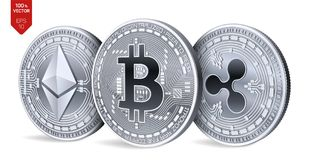 Bitcoin ripple Ethereum moedas 3D físicas isométricas Moeda de Digitas Cryptocurrency Moedas de prata com bitcoin, ondinha e e Imagem de Stock