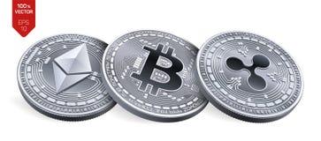Bitcoin ripple Ethereum moedas 3D físicas isométricas Moeda de Digitas Cryptocurrency Moedas de prata com bitcoin, ondinha e e Foto de Stock