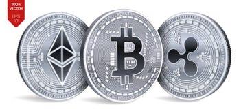 Bitcoin ripple Ethereum moedas 3D físicas isométricas Moeda de Digitas Cryptocurrency Moedas de prata com bitcoin, ondinha e e Imagens de Stock