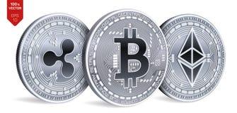 Bitcoin ripple Ethereum moedas 3D físicas isométricas Moeda de Digitas Cryptocurrency Moedas de prata com bitcoin, ondinha e e Foto de Stock Royalty Free