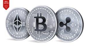 Bitcoin ripple Ethereum moedas 3D físicas isométricas Moeda de Digitas Cryptocurrency Moedas de prata com bitcoin, ondinha e e Fotografia de Stock Royalty Free