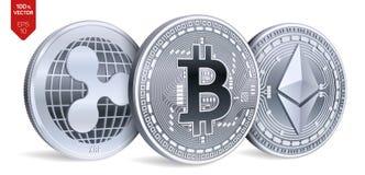 Bitcoin ripple Ethereum moedas 3D físicas isométricas Moeda de Digitas Cryptocurrency Moedas de prata com bitcoin, ondinha e e Imagens de Stock Royalty Free