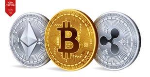 Bitcoin ripple Ethereum moedas 3D físicas isométricas Moeda de Digitas Cryptocurrency Moedas de prata e douradas com bitcoin, ri Foto de Stock Royalty Free