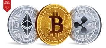Bitcoin ripple Ethereum moedas 3D físicas isométricas Moeda de Digitas Cryptocurrency Moedas de prata e douradas com bitcoin, ri Imagem de Stock