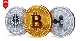 Bitcoin ripple Ethereum moedas 3D físicas isométricas Moeda de Digitas Cryptocurrency Moedas de prata e douradas com bitcoin, ri Fotografia de Stock Royalty Free