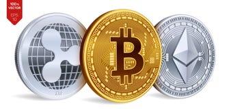 Bitcoin ripple Ethereum moedas 3D físicas isométricas Moeda de Digitas Cryptocurrency Moedas de prata e douradas com bitcoin, ri Foto de Stock