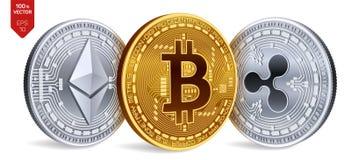 Bitcoin ripple Ethereum prata 3D física isométrica e moedas douradas Moeda de Digitas Cryptocurrency Ilustração do vetor Imagens de Stock Royalty Free