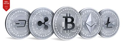 Bitcoin ripple Ethereum traço Litecoin moedas 3D físicas isométricas Moeda cripto Moedas de prata com bitcoin, ondinha, ethere Imagens de Stock