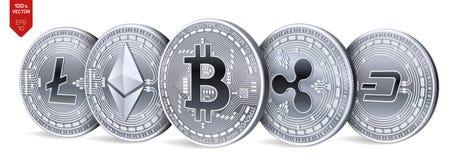 Bitcoin ripple Ethereum traço Litecoin moedas 3D físicas isométricas Moeda cripto Moedas de prata com bitcoin, ondinha, ethere Fotos de Stock