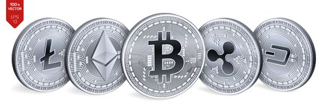 Bitcoin ripple Ethereum traço Litecoin moedas 3D físicas isométricas Moeda cripto Moedas de prata com bitcoin, ondinha, ethere Fotografia de Stock Royalty Free