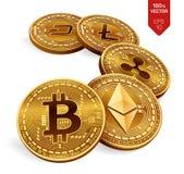Bitcoin ripple Ethereum traço Litecoin moedas 3D físicas isométricas Moeda cripto Moedas douradas com bitcoin, ondinha, ethere Fotos de Stock Royalty Free