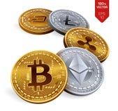 Bitcoin ripple Ethereum traço Litecoin moedas 3D físicas isométricas Moeda cripto Moedas douradas e de prata com bitcoin, rasgo Fotos de Stock Royalty Free