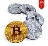 Bitcoin ripple Ethereum traço Litecoin moedas 3D físicas isométricas Moeda cripto Moedas douradas e de prata com bitcoin, rasgo Foto de Stock Royalty Free