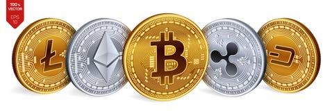 Bitcoin ripple Ethereum traço Litecoin moedas 3D físicas isométricas Moeda cripto Moedas douradas e de prata com bitcoin, rasgo Fotos de Stock