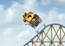 Bitcoin Rise Of Cryptocurrency. Bitcoin rise and cryptocurrency uncertainty and digital crypto currency as a financial roller coaster ride symbols as a 3D Royalty Free Stock Images