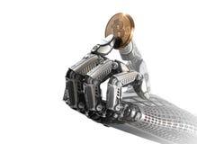Bitcoin robótico de la tenencia de brazo con los fingeres metálicos ilustración del vector