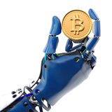 Bitcoin. Robot`s hand holding golden Bitcoin isolated on white background. 3d rendering royalty free illustration