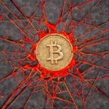 Bitcoin rock. Bitcoin smashes a burning volcanic rock. 3d illustration Royalty Free Stock Photos