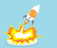 Bitcoin rocket launcher, cryptocurrency concept. Vector illustration Royalty Free Stock Photography