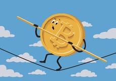 Bitcoin ropewalker op achtergrond met hemel en wolken Stock Afbeeldingen