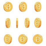 Bitcoin rotation animation coin technology digital money internet currency isolated icons set flat design vector Royalty Free Stock Photos