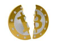 Bitcoin rotto Fotografia Stock