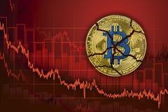 Bitcoin rotto Caduta nello scambio e nella diminuzione del cryptocurrency di valore Fondo di caduta del grafico di prezzi di tend immagine stock