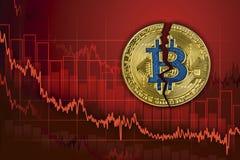 Bitcoin rotto Caduta nello scambio e nella diminuzione del cryptocurrency di valore Fondo di caduta del grafico di prezzi di tend immagini stock
