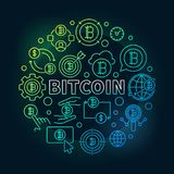 Bitcoin round colorful illustration. Vector round bitcoin sign. Bitcoin round colorful illustration. Vector round bitcoin currency concept line symbol on dark Royalty Free Stock Photos