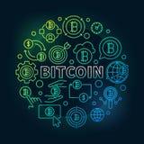 Bitcoin round colorful illustration. Vector round bitcoin sign Royalty Free Stock Photos