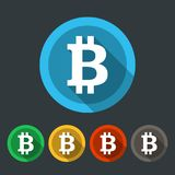 Bitcoin round icons flat design. Bitcoin round icons set in five colors. Flat design vector illustration Stock Images
